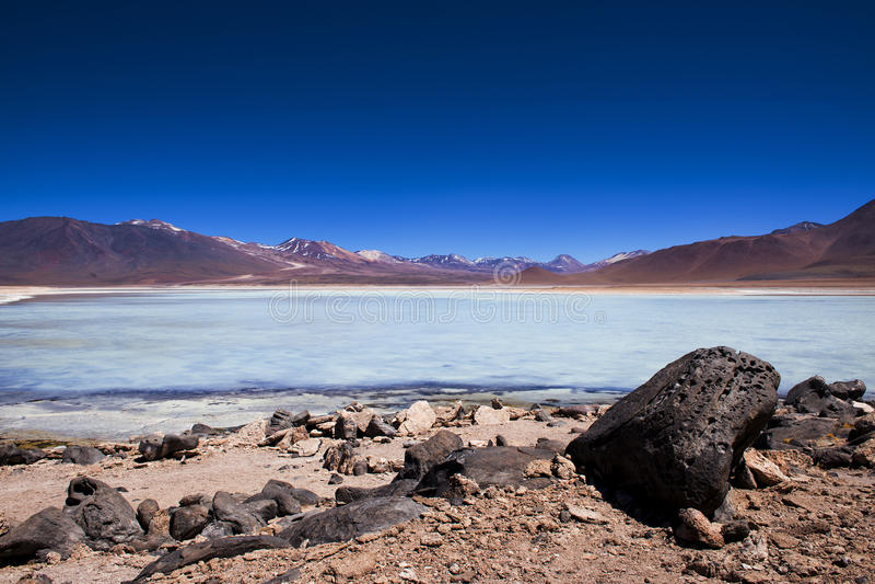 Blanca de Laguna en el departamento de Potosi en Bolivia, Suramérica imagen de archivo