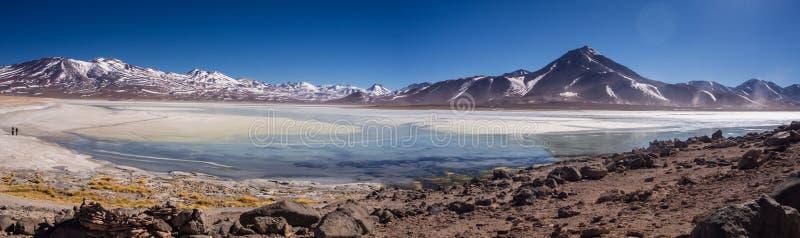 Blanca Laguna озеро соли на ноге вулканов Licancabur и Juriques - национального заповедника фауны Eduardo Avaroa андийского, стоковые изображения rf