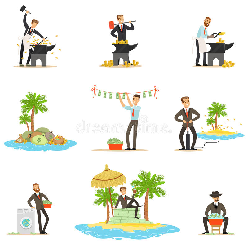 Blanchiment d'argent illégal et utilisation de la série d'Offshores d'illustrations avec l'homme d'affaires corrompu Washing Dirt illustration stock