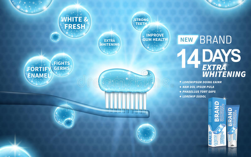 Blanchiment de l'annonce de pâte dentifrice illustration libre de droits