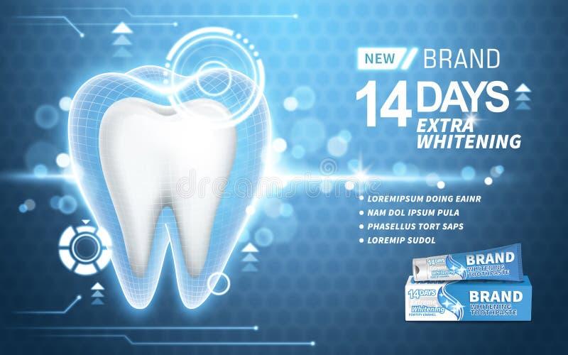 Blanchiment de l'annonce de pâte dentifrice illustration stock