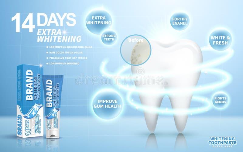 Blanchiment de l'annonce de pâte dentifrice