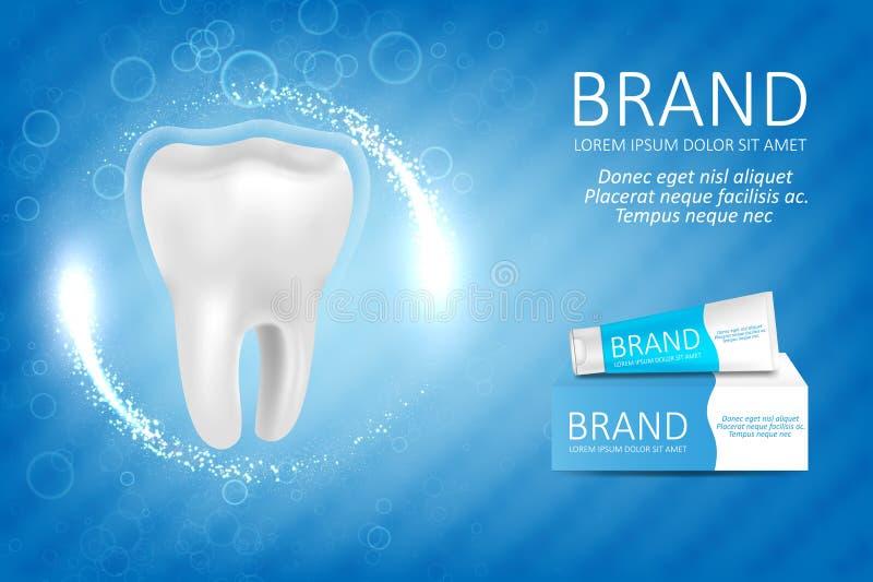 Blanchiment de l'annonce de pâte dentifrice illustration de vecteur