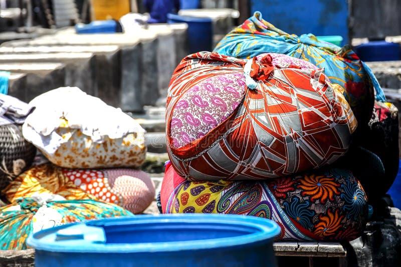 Blanchisserie chez Dhobi Ghat, Mumbai, Inde photographie stock libre de droits