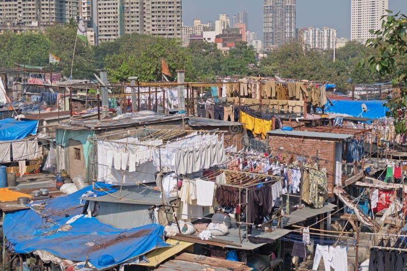 Blanchisserie d'air ouvert de Mumbai image stock