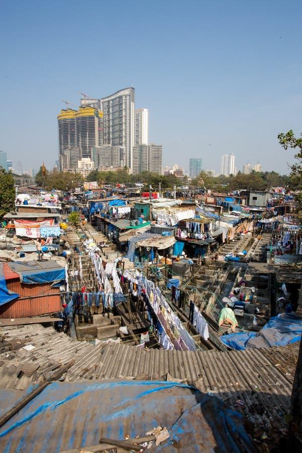Blanchisserie de Dhobi Ghat dans Mumbai photographie stock libre de droits