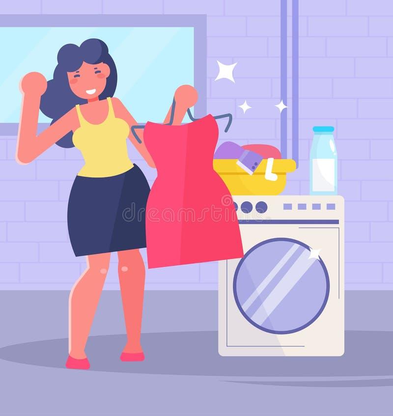 Blanchisserie, machine à laver, vecteur de sous-sol cartoon Art d'isolement illustration stock