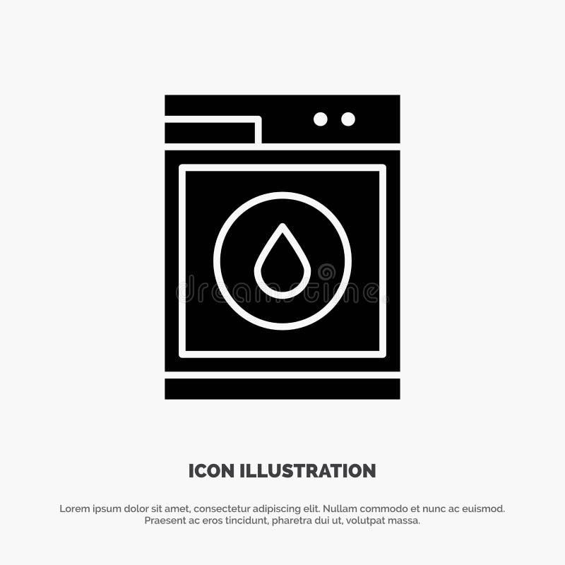 Blanchisserie, machine, lavage, icône noire solide de Glyph de robot illustration stock
