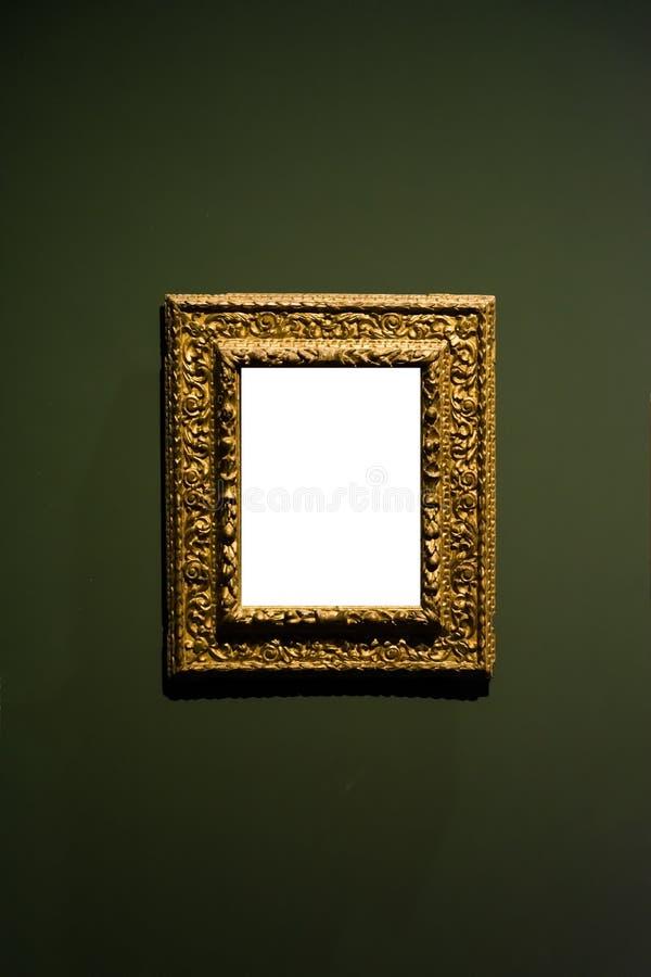 Blanco adornado del diseño de la pared de Art Museum Frame Dark Green aislado foto de archivo
