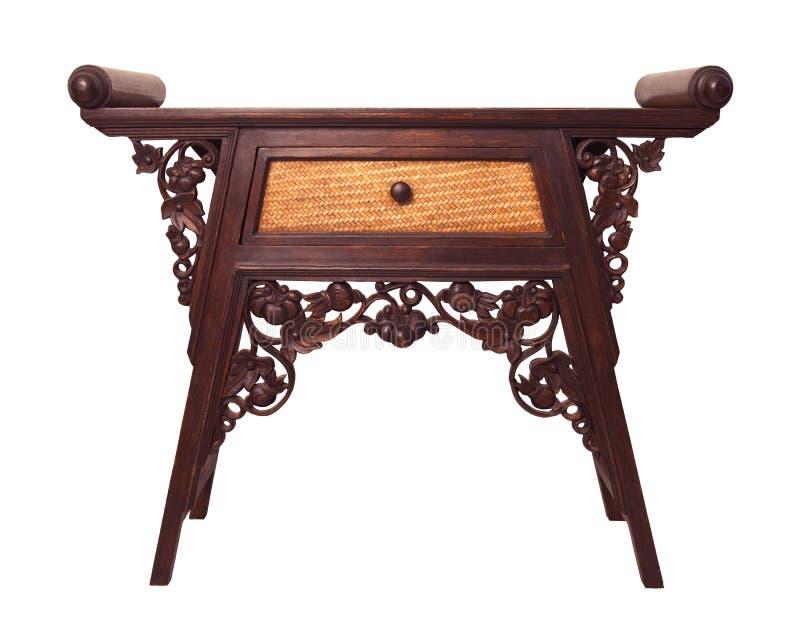 Blanco aislado escritorio de madera tailandés viejo de los muebles fotografía de archivo libre de regalías