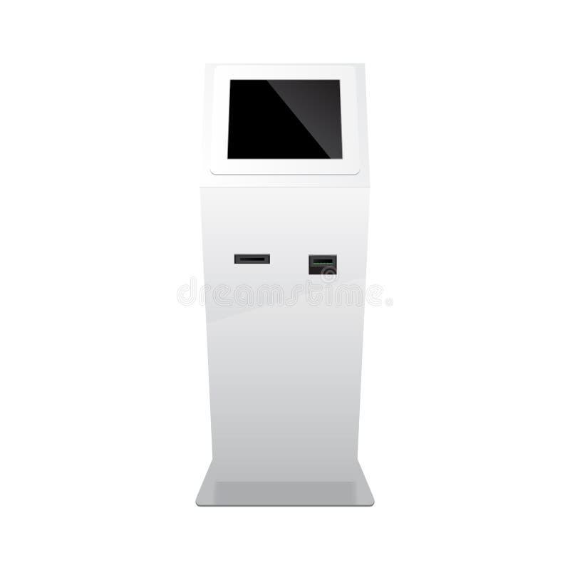 Blanco al aire libre Terminal del pago Atmósfera, posición, soporte de la publicidad del POI en el fondo blanco mofa 3D para arri libre illustration
