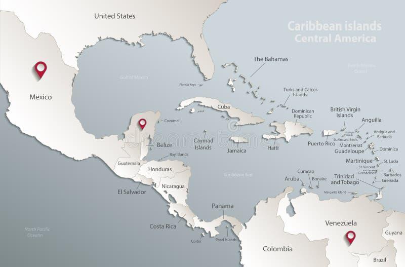 Blanco azul 3D de la tarjeta del mapa de America Central de las islas caribeñas ilustración del vector