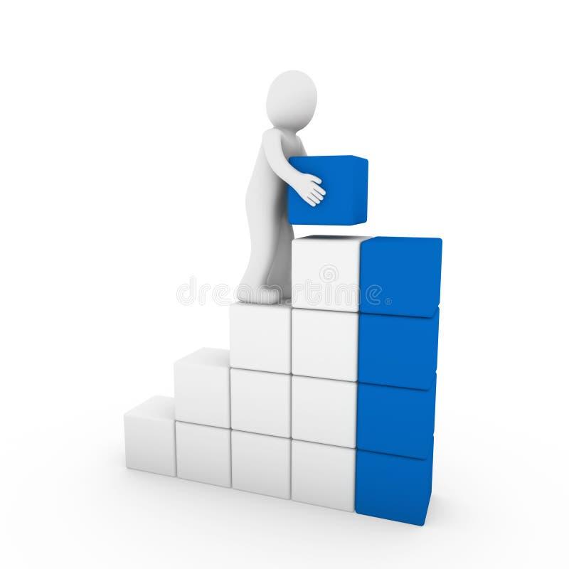 blanco azul de la torre humana del cubo 3d stock de ilustración