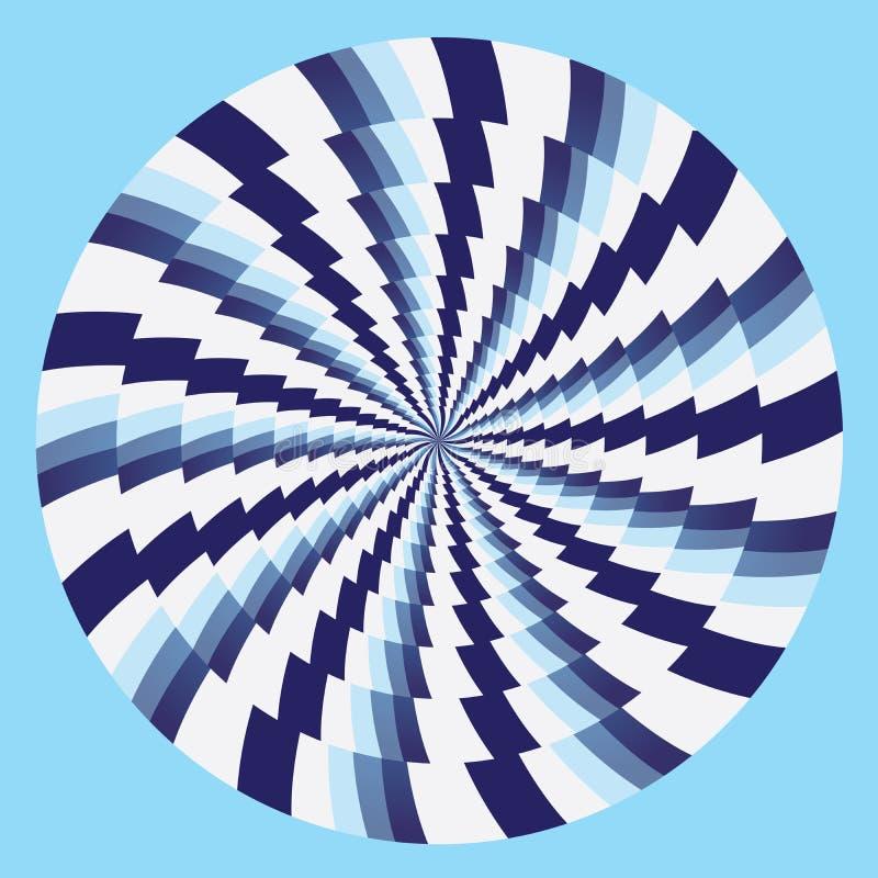 Blanco azul de los círculos hipnóticos ilustración del vector