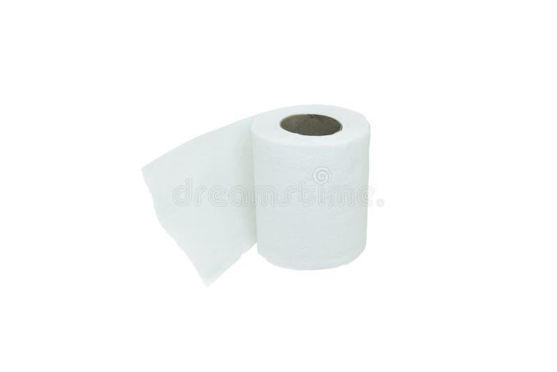 Blanco blanco del papel de papel higiénico aislado imágenes de archivo libres de regalías