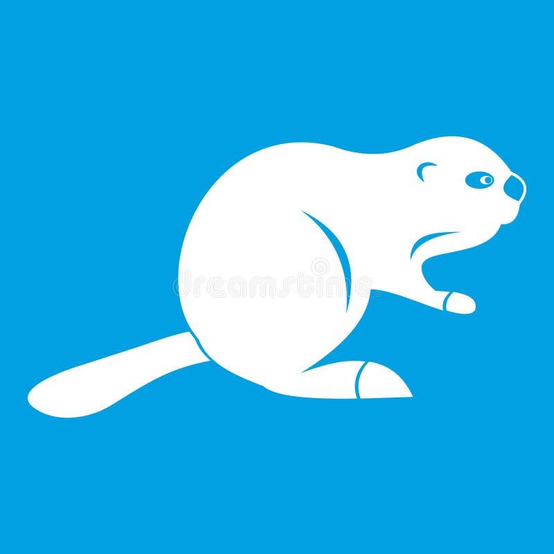 Blanco canadiense del icono del castor ilustración del vector