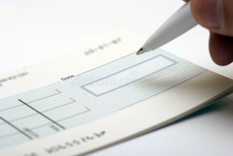 Blanco cheque stock afbeelding