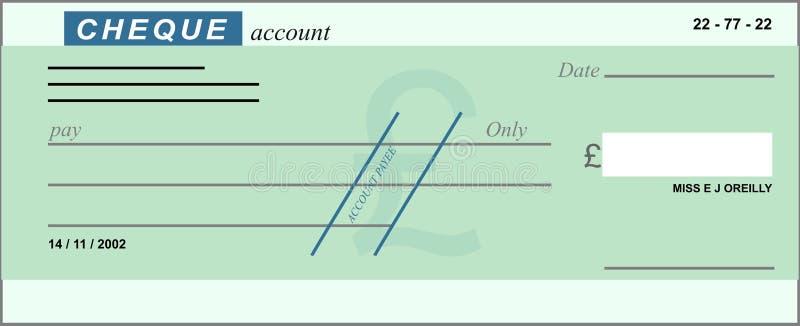 Blanco cheque vector illustratie