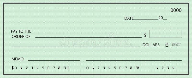 Blanco cheque met Valse Aantallen stock illustratie