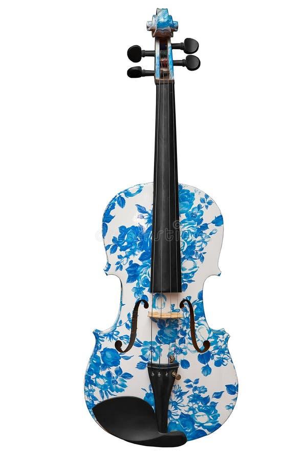 Blanco clásico del violín del instrumento musical con el modelo azul aislado en el fondo blanco fotos de archivo