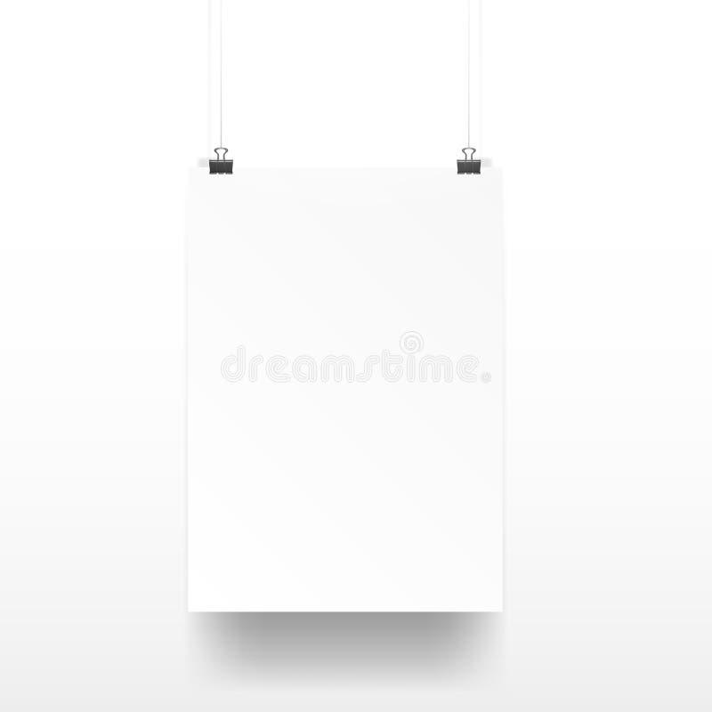 Blanco claro A4 en los clips de papel libre illustration