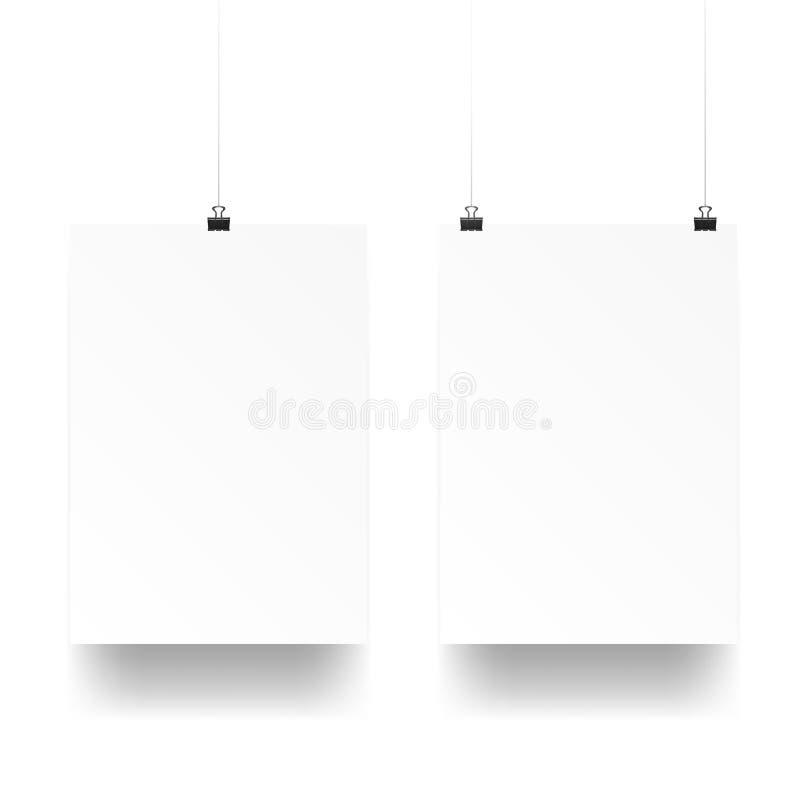 Blanco claro A4 en los clips de papel stock de ilustración