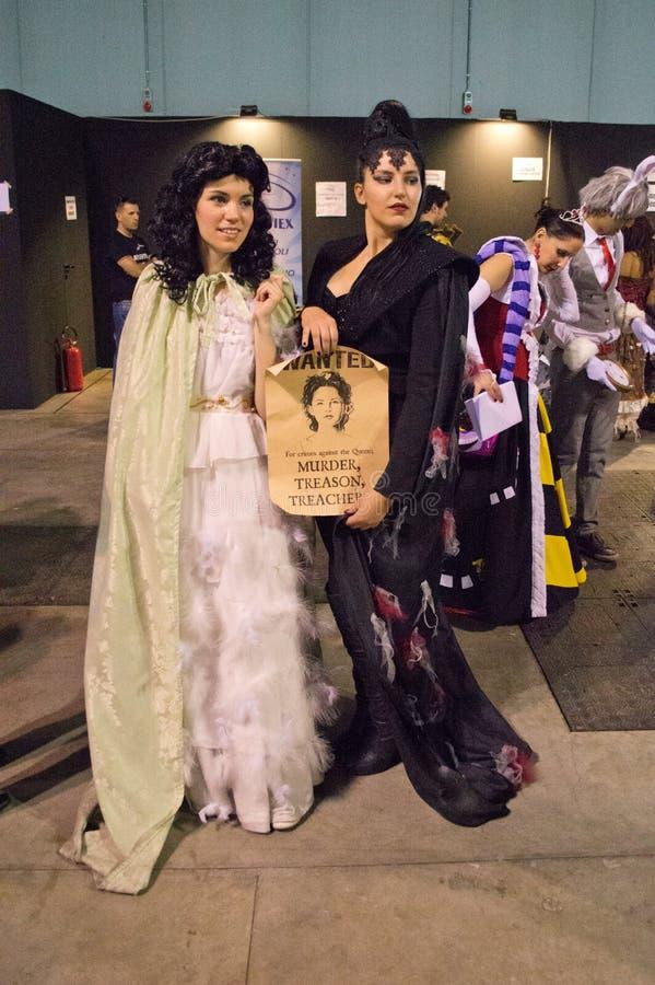 Blanco como la nieve y la reina Cartoomics 2014 fotos de archivo libres de regalías