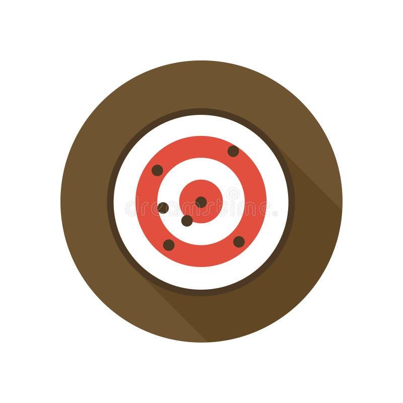 Blanco con el icono plano de los agujeros de bala Tiro de la blanco de la radio de tiro libre illustration