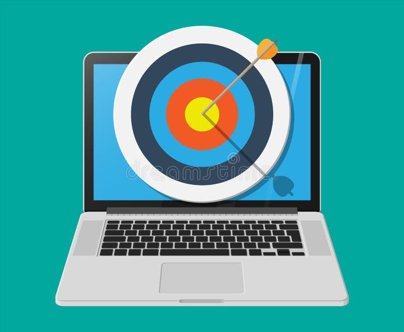 Blanco con la flecha en cente en la pantalla del ordenador portátil libre illustration