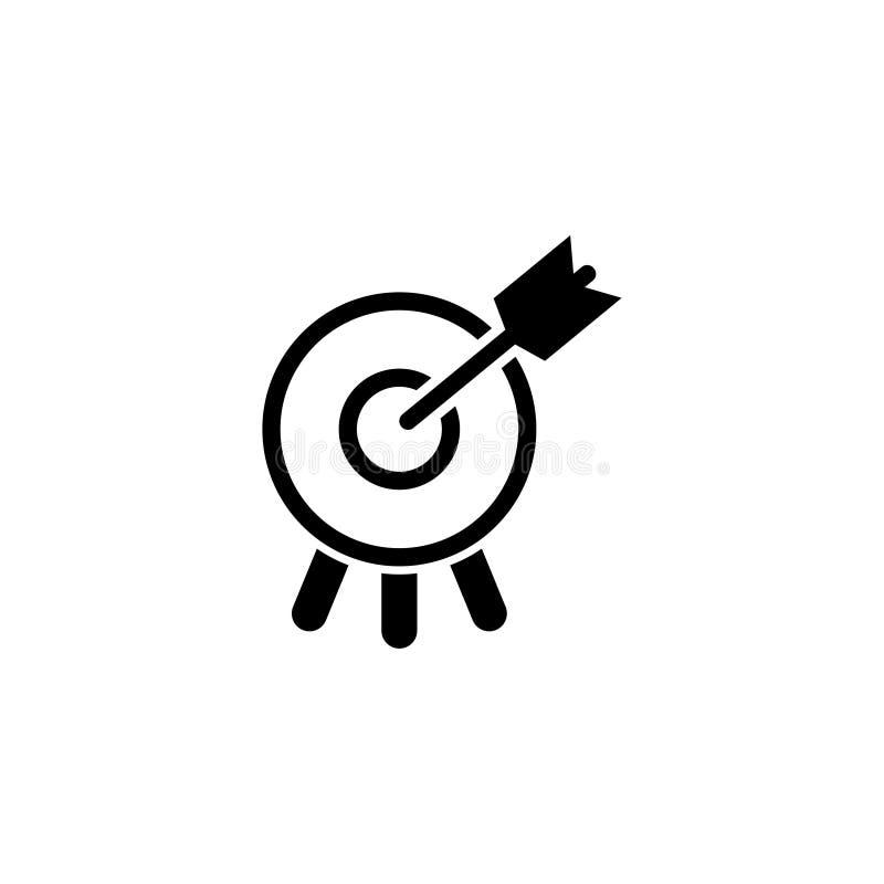 Blanco con la flecha en icono plano del vector de la diana ilustración del vector