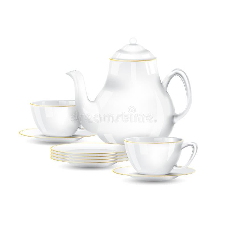 Blanco con la línea té del oro o el sistema de café imagen de archivo