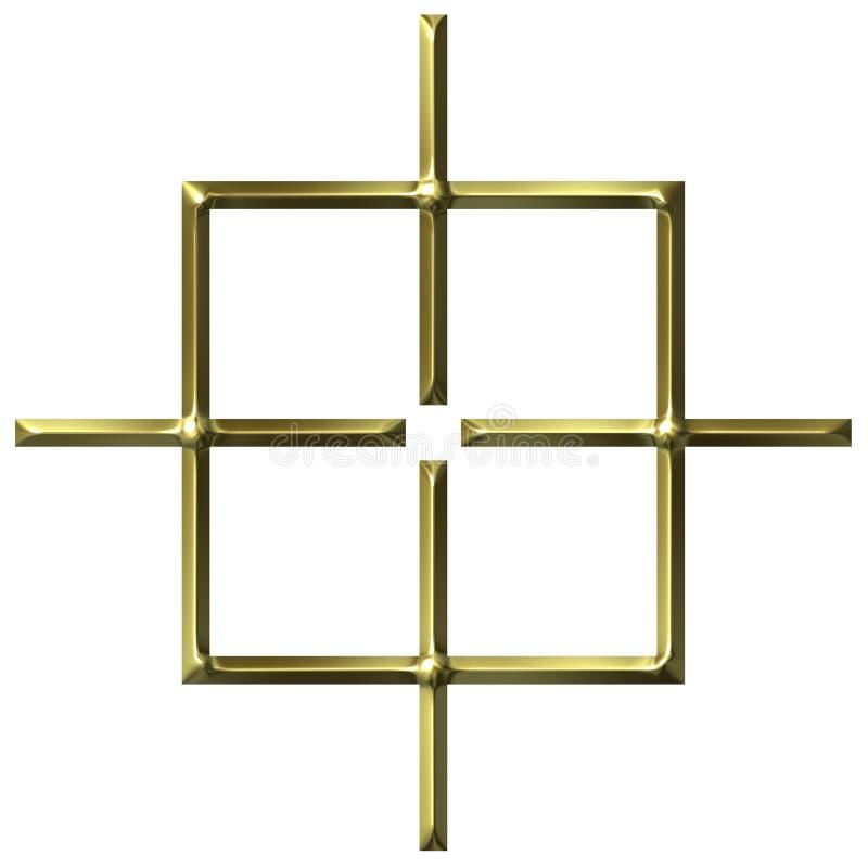 blanco cuadrada de oro 3D ilustración del vector