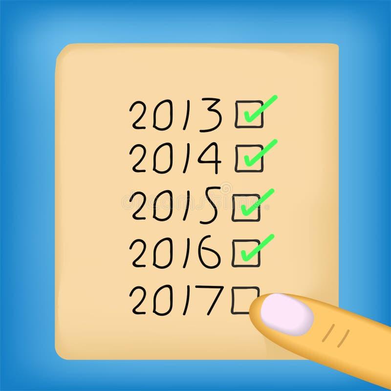 Blanco de conceptual acertado del Año Nuevo 2017 ilustración del vector