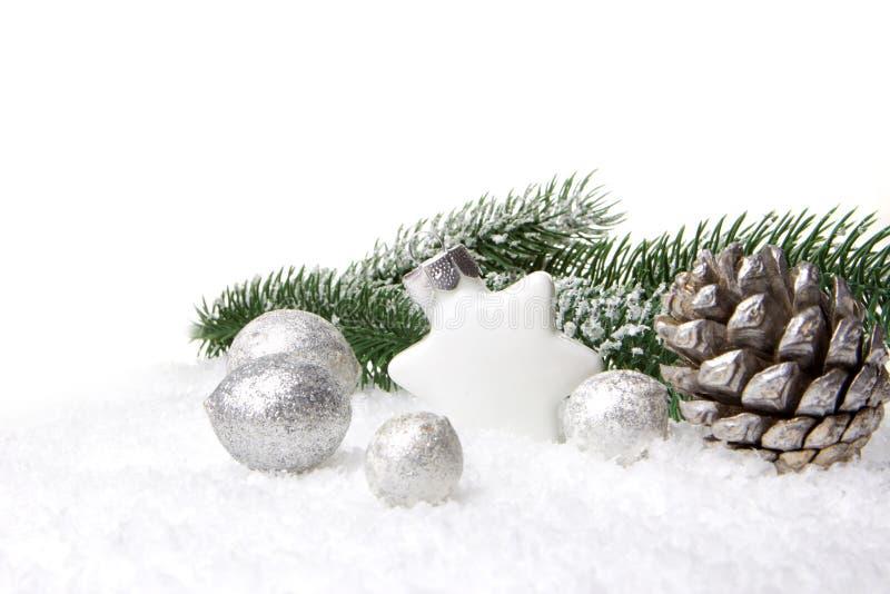 Blanco de la decoración de la Navidad imagenes de archivo