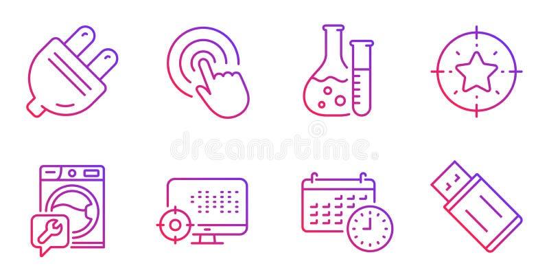 Blanco de la estrella, sistema de los iconos de Seo y del tecleo Laboratorio de la lavadora, de química y muestras del calendario libre illustration