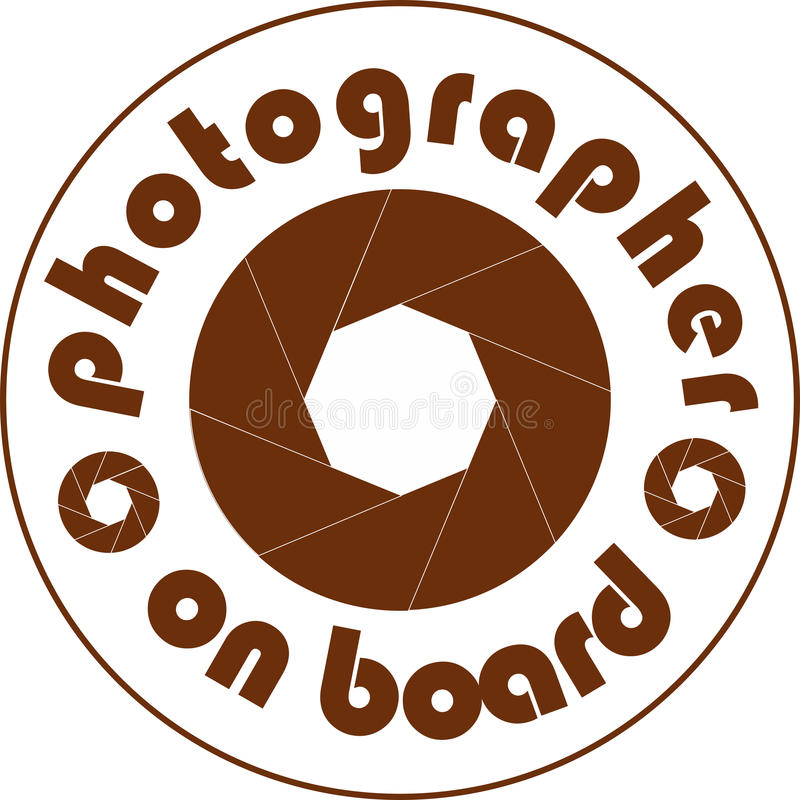 Blanco de la etiqueta engomada del coche del fotógrafo a bordo foto de archivo
