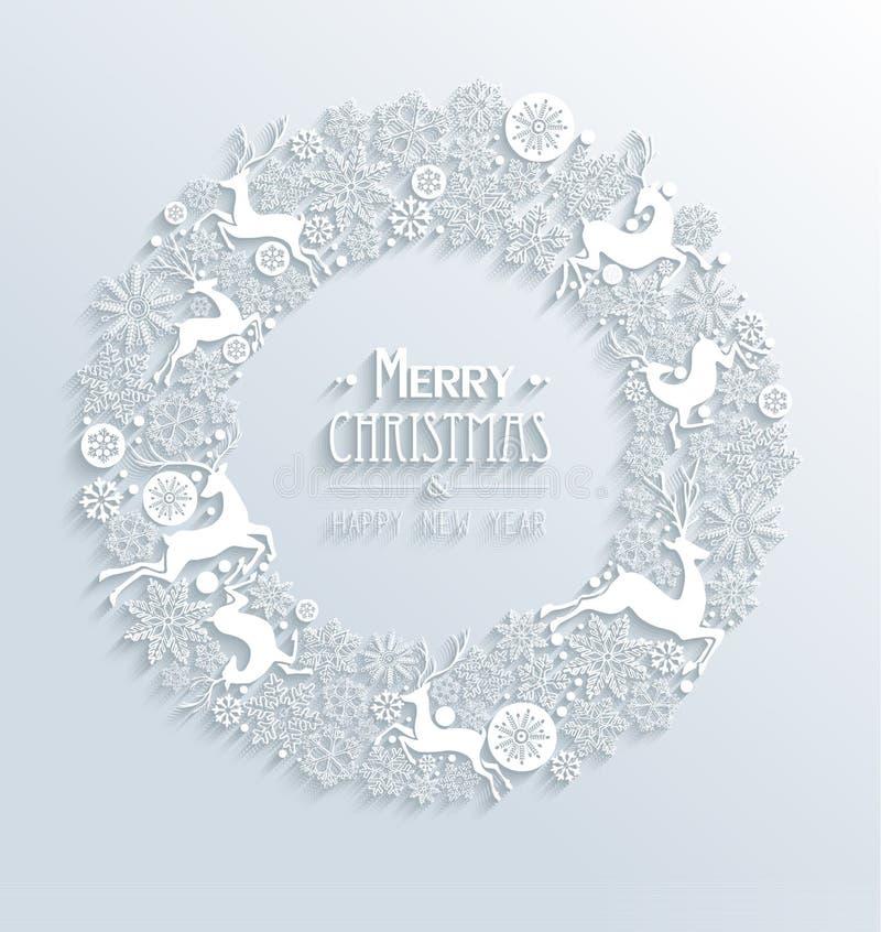 Blanco de la Feliz Navidad blanca y de la Feliz Año Nuevo 3d  libre illustration