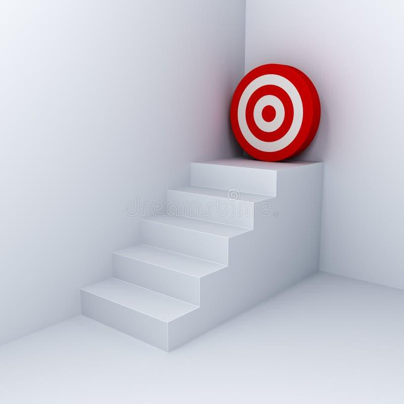 Blanco de la meta que las escaleras blancas del concepto del negocio apuntan al tablero de dardo rojo en la esquina en el fondo b fotografía de archivo libre de regalías