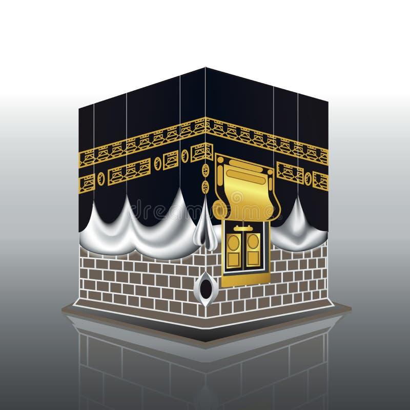 Blanco de la mezquita de Kaaba musulmanes santos del edificio de La Meca, para el jadye, fitr, adha, kareem ilustración del vector