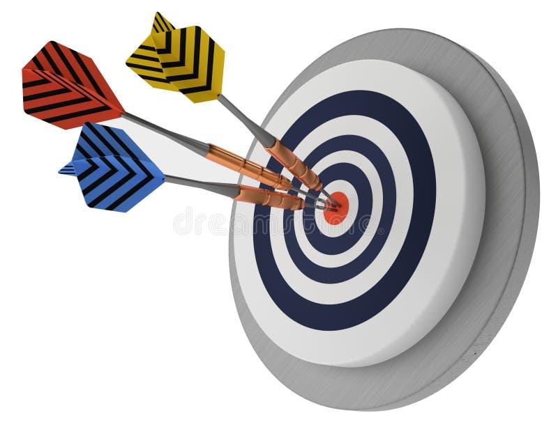 Blanco de tres flechas en el mejor ganador 3D del éxito blanco del fondo stock de ilustración