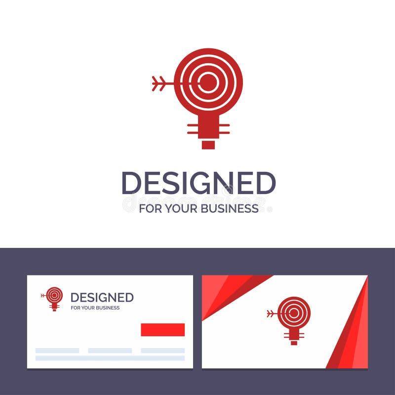 Blanco de visita de la plantilla creativa de la tarjeta y del logotipo, dardos, meta, solución, bulbo, ejemplo del vector de la i libre illustration