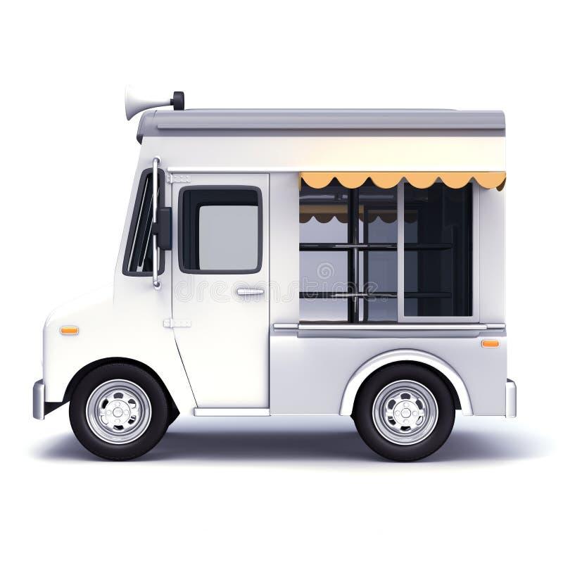Blanco del camión de la comida fotografía de archivo libre de regalías