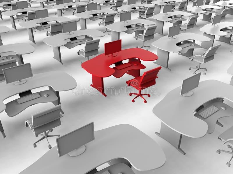 Blanco del espacio de trabajo de la oficina en muchedumbre stock de ilustración