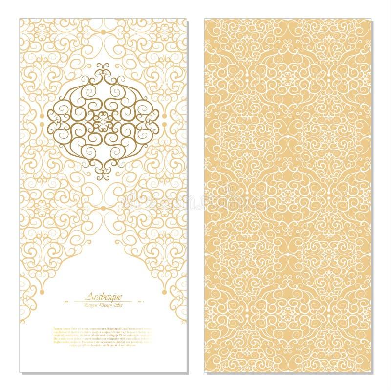 Blanco del este abstracto del elemento del Arabesque y coche del fondo del oro libre illustration