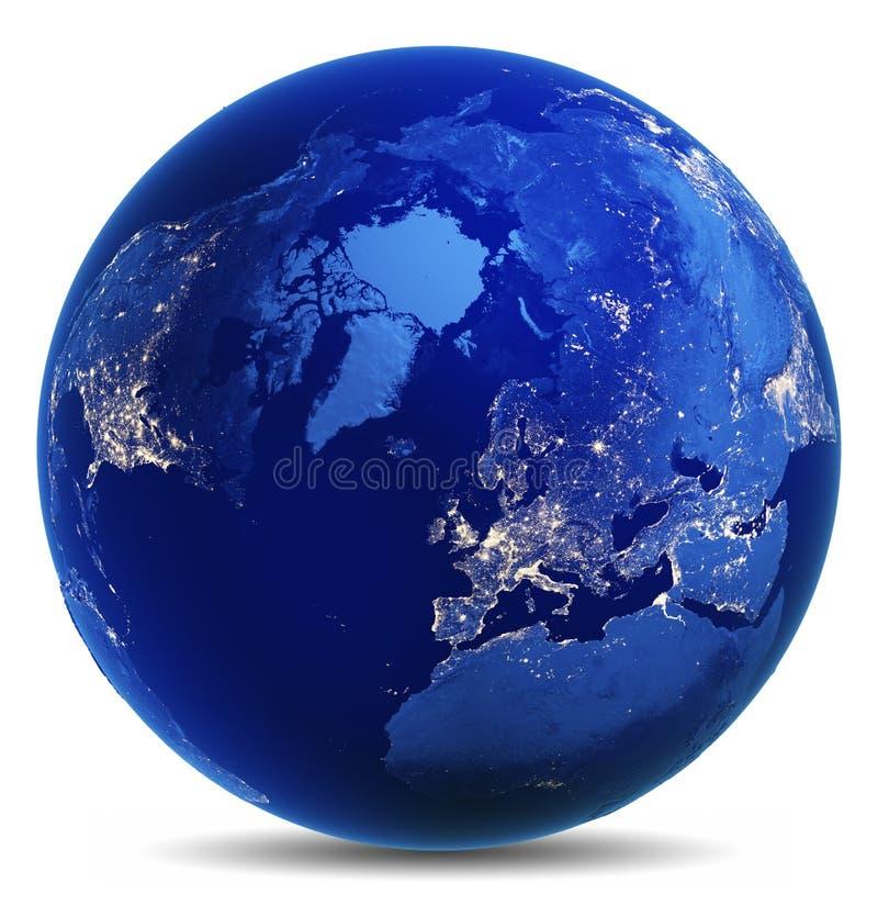 Blanco del globo de la tierra aislado fotos de archivo