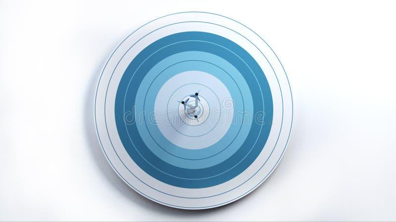 Blanco del golpe de 3 flechas en el centro, vista delantera libre illustration