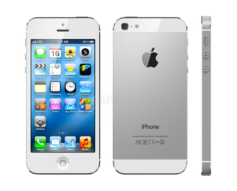 Blanco del iphone 5 de Apple fotografía de archivo