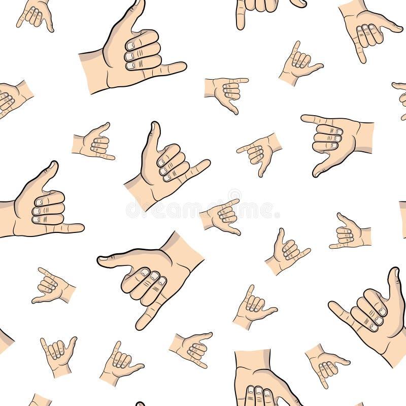 Blanco del modelo de la mano de Shaka stock de ilustración
