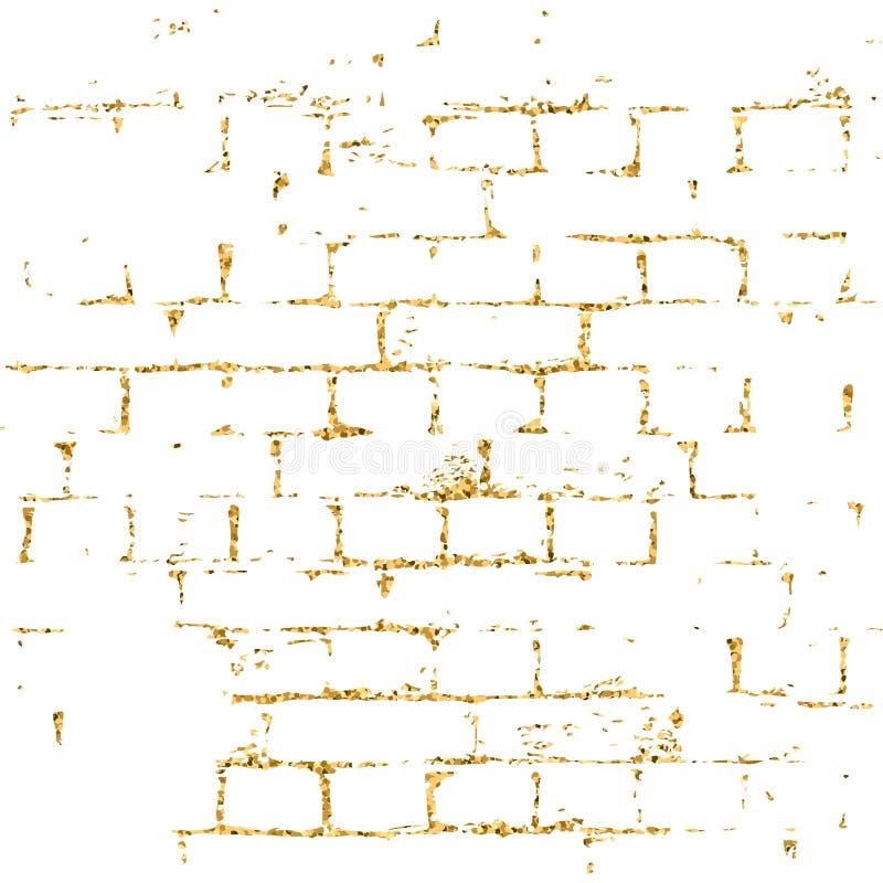 Blanco del modelo de la textura del oro de la pared de ladrillo ilustración del vector