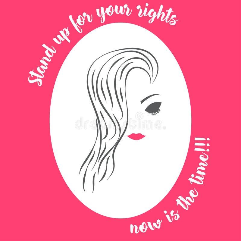 Blanco del rosa del ejemplo de la conciencia del día del ` s de las mujeres de la cara de la mujer ilustración del vector